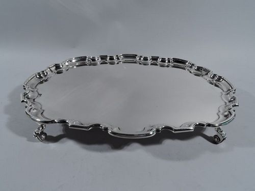 English Sterling Silver Oval Salver Tray with Georgian Piecrust Rim