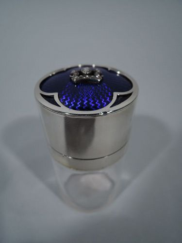 English Edwardian Sterling Silver and Enamel Vanity Jar with Diamonds