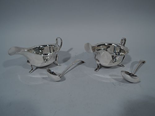 Pair of English Georgian Style Sterling Silver Sauce Boats 1959/60