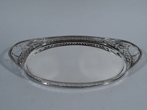 Pretty Antique Dutch Edwardian Pierced Silver Tray