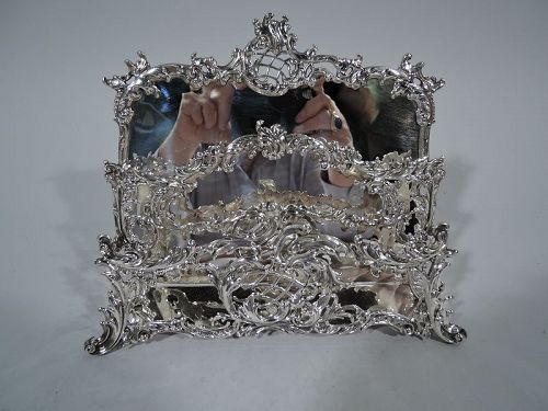 Antique Rococo Sterling Silver Letter Rack by New York Maker Howard