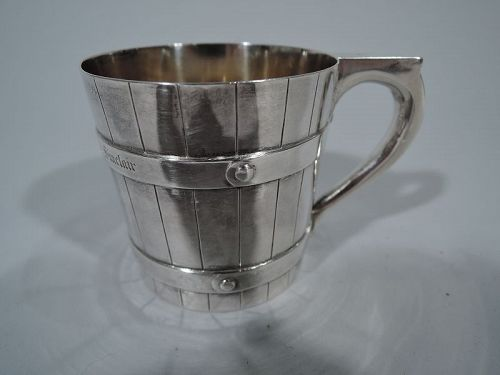 Victorian Scottish Sterling Silver Novelty Barrel Christening Mug 1865