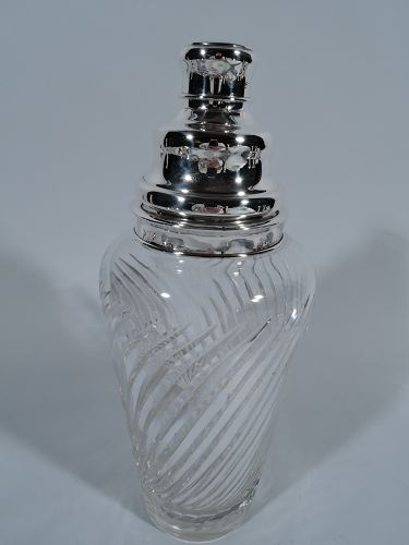 Antique Hawkes Edwardian Glass and Sterling Silver Cocktail Shaker
