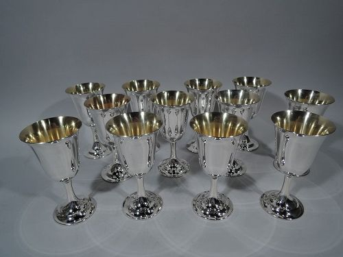 Set of 12 International Lord Saybrook Sterling Silver Goblets