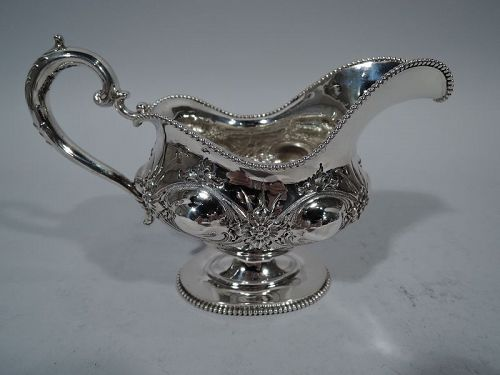 Fancy Antique American Sterling Silver Gravy Boat by Frank W. Smith