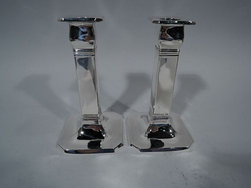 Pair of Tiffany Art Deco Sterling Silver Pillar Candlesticks