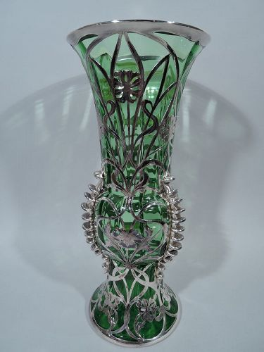 Gorham Tall and Unusual Silver Overlay Green Glass Vase