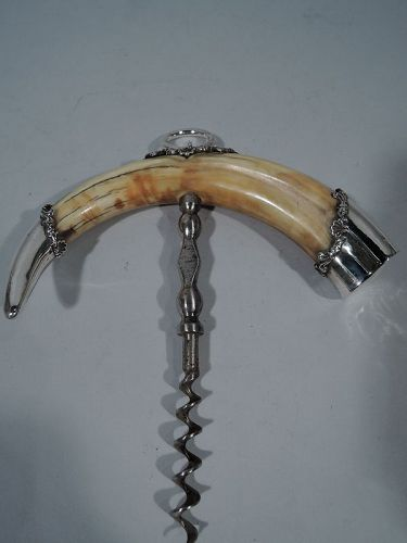 Antique American Lady�s-Size Sterling Silver Corkscrew