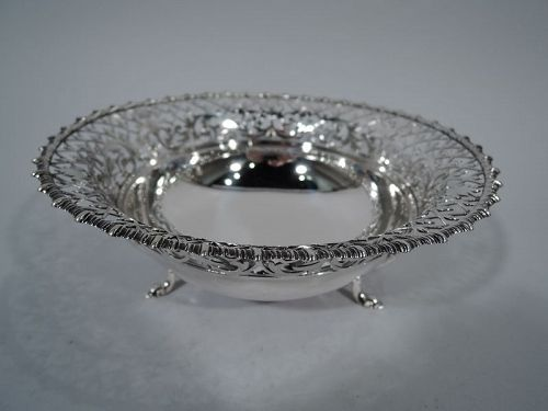 Antique English Edwardian Pierced Sterling Silver Bowl by James Dixon
