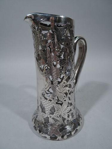 Antique Alvin Art Nouveau Silver Overlay Claret Jug