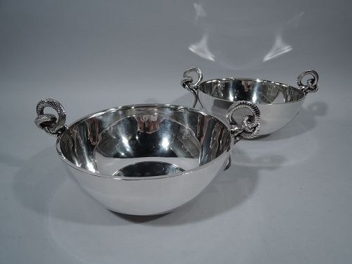 Pair of Tiffany Sterling Silver Bowls with Fabulous Snake Handles