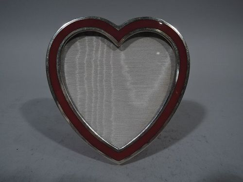 Tiffany Sterling Silver Hot Heart Photo Frame in Throbbing Red Enamel
