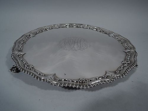 English Georgian Sterling Silver Salver Tray 1766