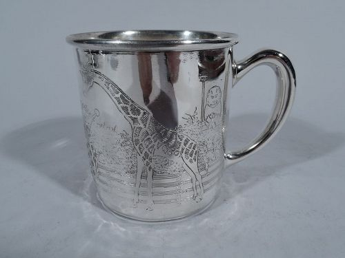 Blackinton Sterling Silver Baby Cup with Circus Clown & Elephant