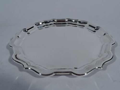Cartier Sterling Silver Round Tray with Chippendale Piecrust Rim