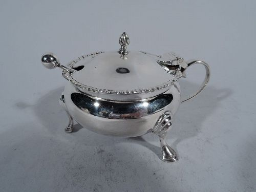 Antique English Georgian Style Sterling Silver Mustard Pot 1927