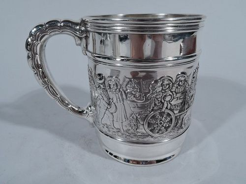 Antique Tiffany Sterling Silver Baby Cup with Patriotic Parade