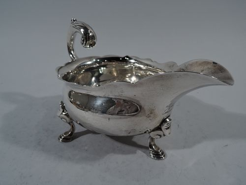 Antique English Midcentury Georgian Sterling Silver Gravy Boat