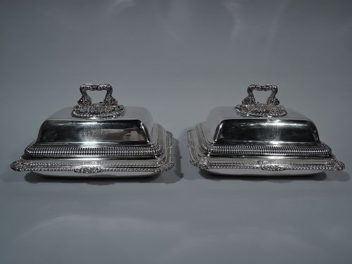 Pair of English Regency Sterling Silver Covered Dishes by Paul Storr