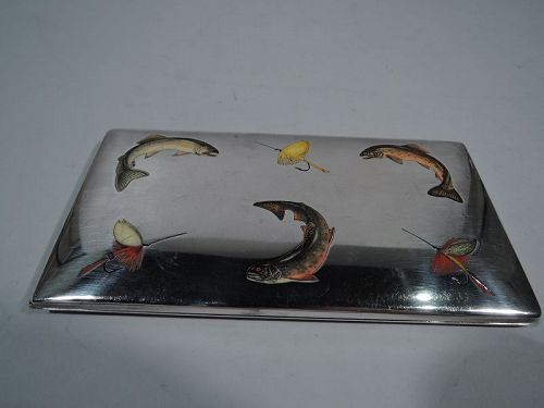 For the Sportsman - Thomae Trout & Lure Sterling Silver & Enamel Case
