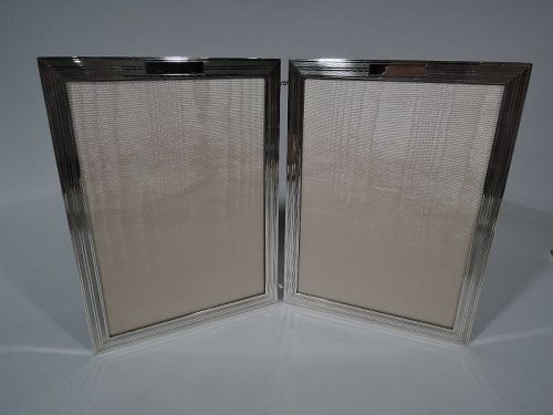 American Modern Hand Made Sterling Silver Diptych Double Picture Frame