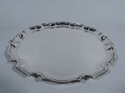 Tiffany Sterling Silver Tray with English Georgian Piecrust Rim
