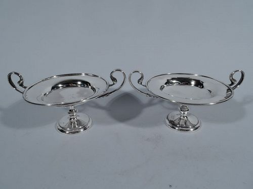 Pair of Antique English Neoclassical Sterling Silver Kylix Compotes
