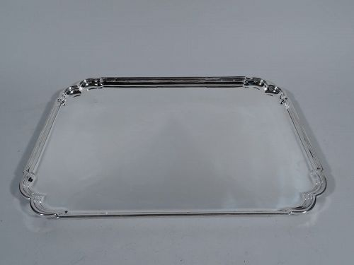 Traditional English Sterling Silver Rectangular Salver Tray