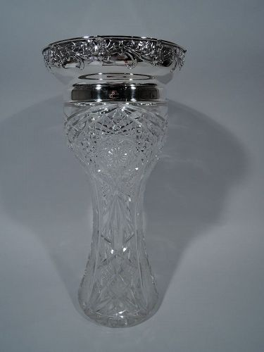 Gorham Art Nouveau Tall Sterling Silver & Brilliant-Cut Glass Vase