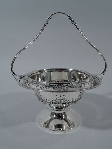 Antique American Edwardian Sterling Silver Basket Bowl