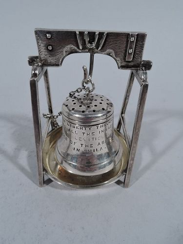 Antique Sterling Silver Novelty Liberty Bell Tea Strainer on Stand