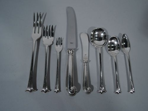 Traditional English Onslow Sterling Silver Dinner Set for 12