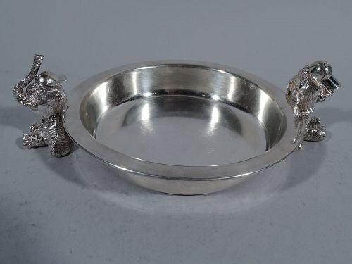 English Sterling Silver Cereal Bowl with Sweet & Playful Elephants