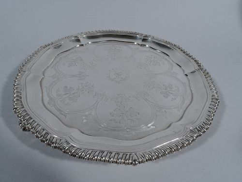 Antique English Regency Sterling Silver Salver Tray by Richard Sibley