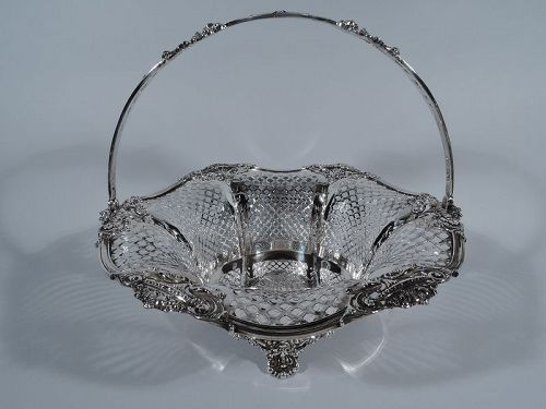 Large Antique American Edwardian Pierced Sterling Silver Basket