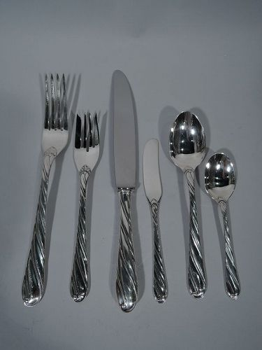 Buccellati Torchon Sterling Silver Dinner Set for 8 with 52 Pieces