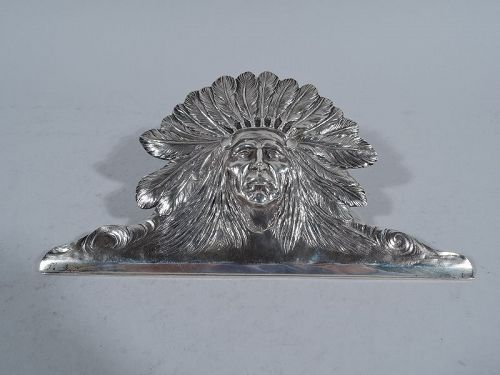 Antique American Indian Chief Sterling Silver Paper Clip