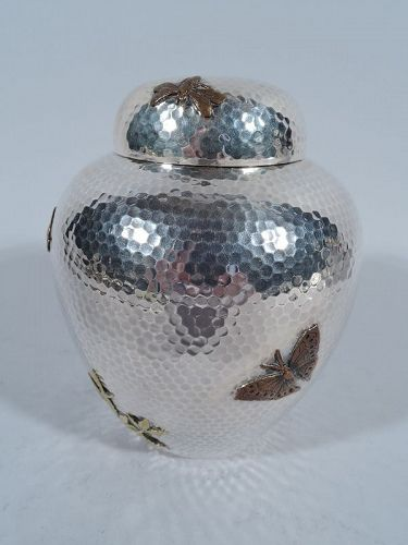 Dominick & Haff Large Hand Hammered and Mixed Metal Tea Caddy