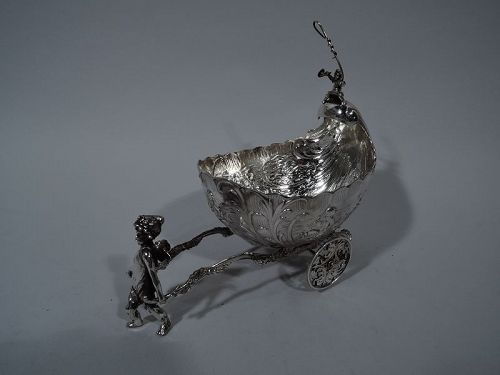 Antique German Rococo Silver Winged Cupid Harnessed to Love Chariot