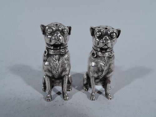 Great Dog Gift - Pair of Pug Sterling Silver Salt & Pepper Shakers