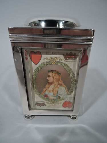 Antique English Edwardian Sterling Silver Playing Cards Box