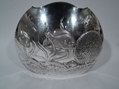 Wonderful Cartier Sterling Silver Vase with Sea Fish and Shells