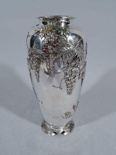 Antique Japanese Meiji Silver and Enamel Wisteria Vase