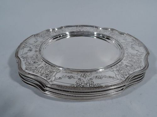 Set of 6 Antique American Edwardian Sterling Silver Charger Plates