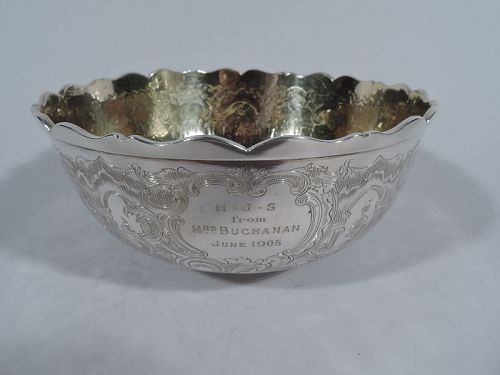 Antique Chinese Export Silver Bowl by Linchong of Canton Early 19th C