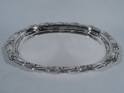 Antique Tiffany Fancy Heavy Oval Sterling Silver Serving Tray
