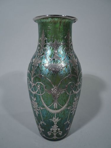 Antique Loetz Art Glass Vase with Silver Overlay