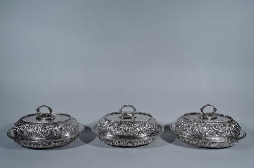 Set of 3 Fabulous Repousse Sterling Silver Covered Dishes by Krider