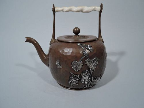 Gorham Japonesque Mixed Metal & Hand Hammered Copper Teapot