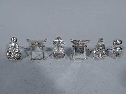 Set of 6 Exotic Japanese Silver Place Card Holders